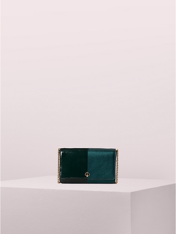 nicola bicolor metallic chain wallet, , rr_large