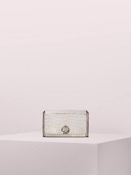 romy metallic croc-embossed chain wallet by kate spade new york
