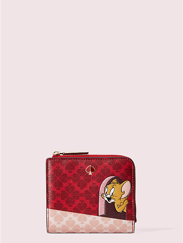 kate spade new york x tom & jerry small bifold wallet, , rr_large