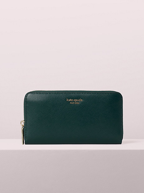 spencer zip-around continental wallet, deep evergreen, large by kate spade new york
