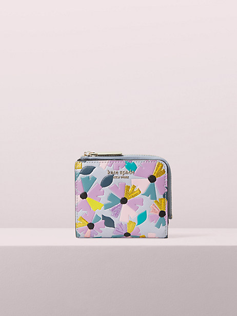 Spencer glitter floral small bifold wallet | Kate Spade New York
