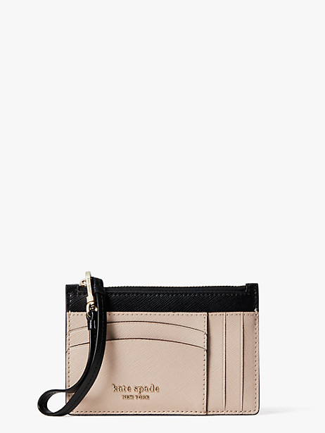 spencer cardholder wristlet, warm beige/black, large by kate spade new york