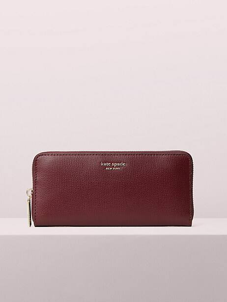 sylvia slim continental wallet, cherrywood, large by kate spade new york