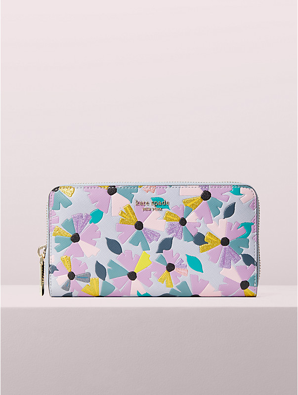 spencer glitter floral zip-around continental wallet, , rr_large