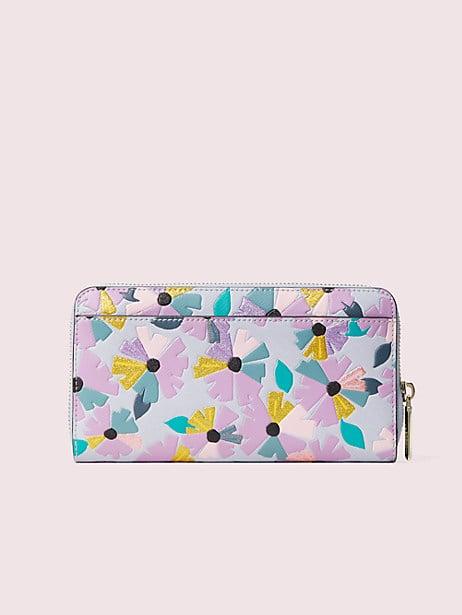 Spencer glitter floral zip-around continental wallet | Kate Spade New York