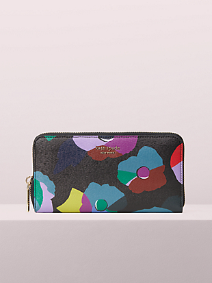 spencer floral collage zip-around continental wallet by kate spade new york non-hover view