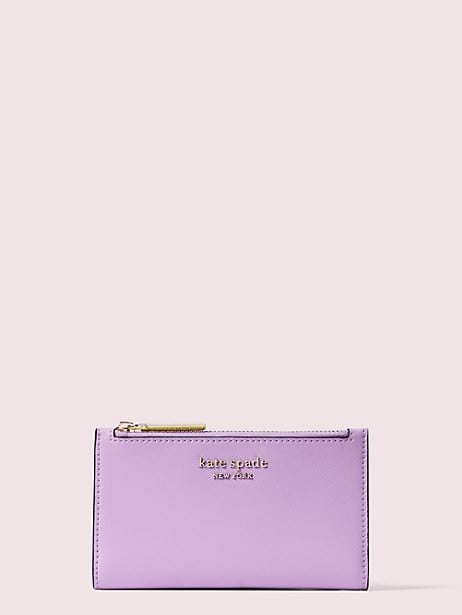 spencer small slim bifold wallet, iris bloom, large by kate spade new york