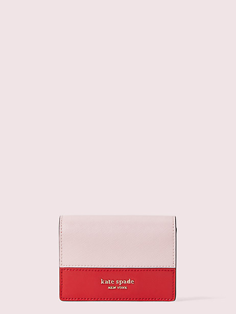 spencer mini keyring wallet, hot chili multi, large by kate spade new york