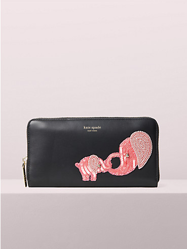 beaded tiny elephant zip-around continental wallet, , rr_productgrid