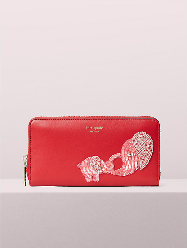beaded tiny elephant zip-around continental wallet, , rr_large