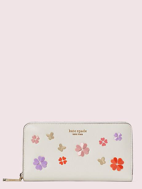 spencer spade clover butterfly zip-around continental wallet by kate spade new york