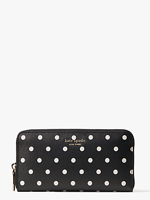 spencer cabana dot zip-around continental wallet by kate spade new york non-hover view