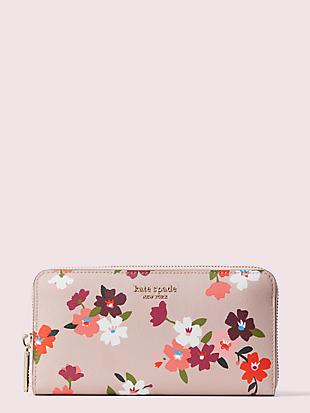spencer cherry blossom zip-around continental wallet by kate spade new york non-hover view