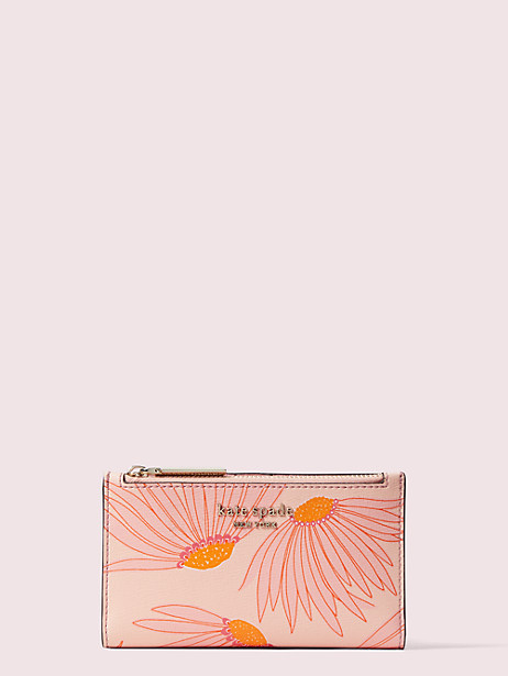 spencer falling flower small slim bifold wallet, pink multi, large by kate spade new york