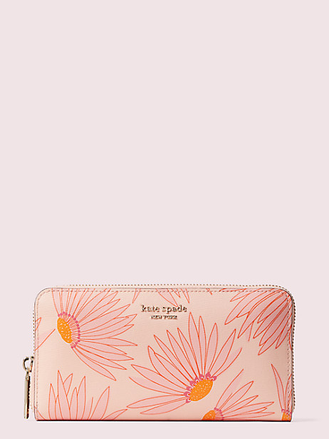spencer falling flower zip-around continental wallet, pink multi, large by kate spade new york