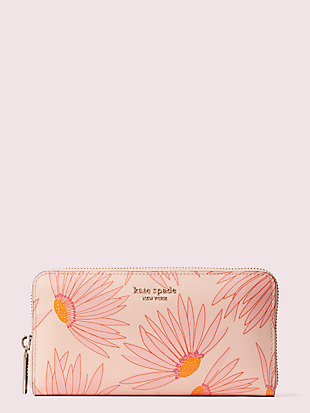 spencer falling flower zip-around continental wallet by kate spade new york non-hover view