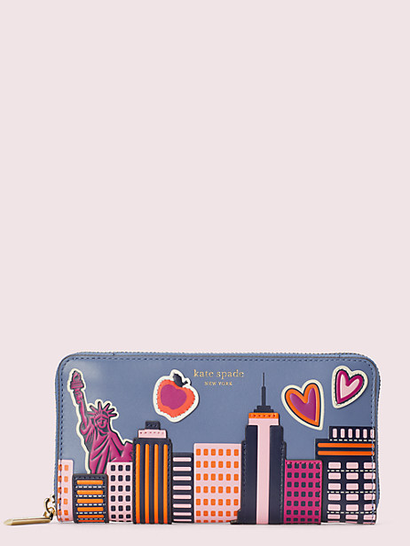 scenic route nyc zip-around continental wallet by kate spade new york
