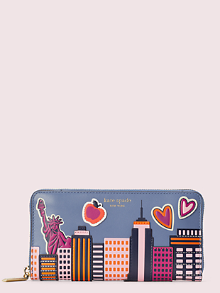 scenic route nyc zip-around continental wallet by kate spade new york non-hover view