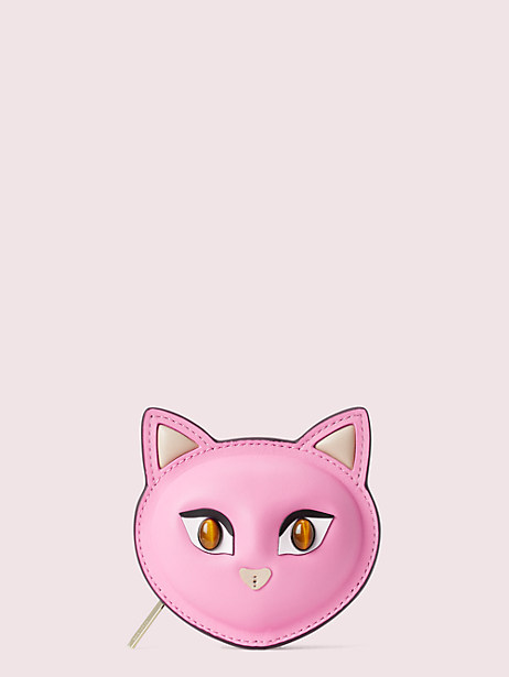 meow cat coin pouch, pink opaline, large by kate spade new york