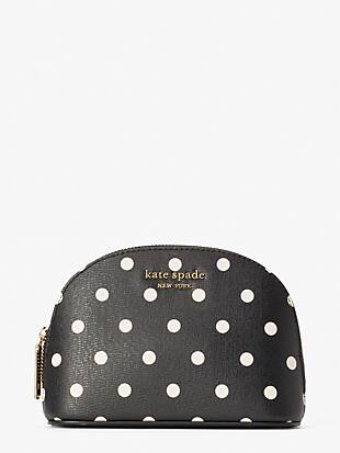 spencer cabana dot small dome cosmetic case by kate spade new york non-hover view