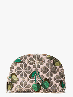spade flower jacquard cherry small dome cosmetic case by kate spade new york non-hover view