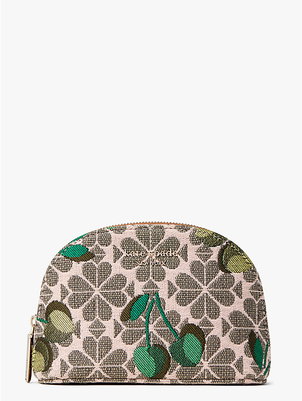 cherry spade flower jacquard small dome cosmetic case, , rr_large