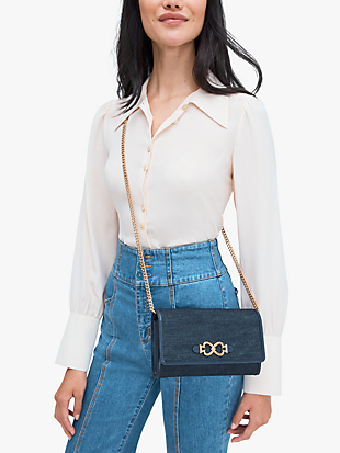 toujours denim chain clutch by kate spade new york hover view