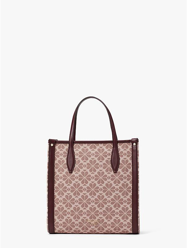 spade flower coated canvas medium north south tote, , rr_large