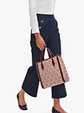 spade flower coated canvas medium north south tote, , s7productThumbnail