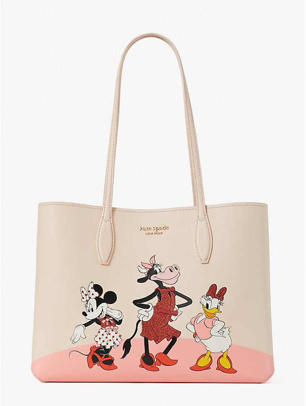disney x kate spade new york clarabelle & friends large tote, , rr_large
