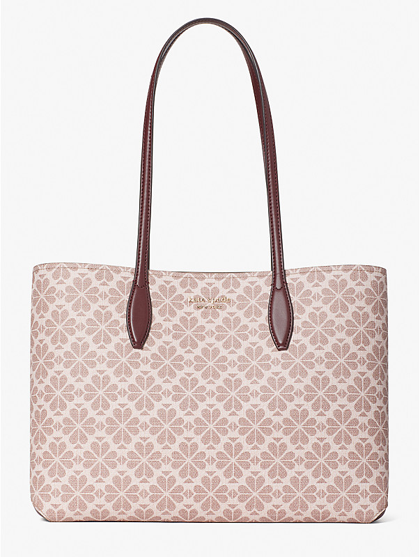 spade flower coated canvas all day large tote, , rr_large