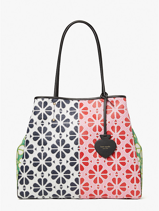 spade flower raffia everything extra-large tote, , rr_large
