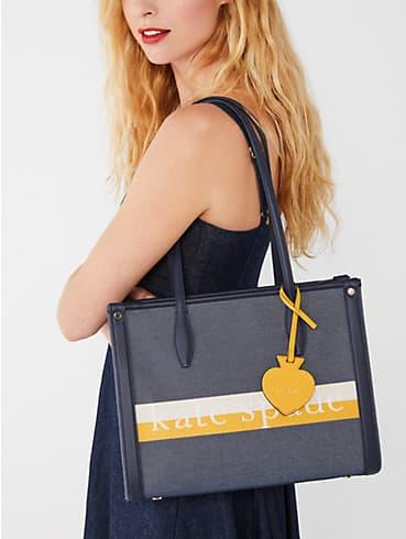 Market Logo Tote Bag mit Streifen, mittelgroß, , rr_productgrid