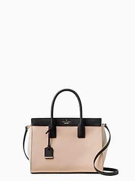 cameron street candace satchel, warm vellum/tusk/black, medium