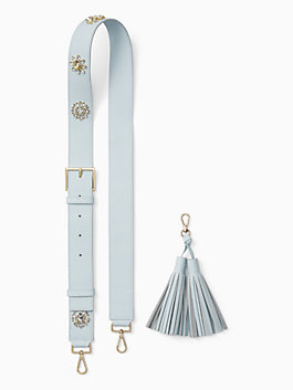 make it mine crystal flowers strap/tassel pack, shimmer blue, medium