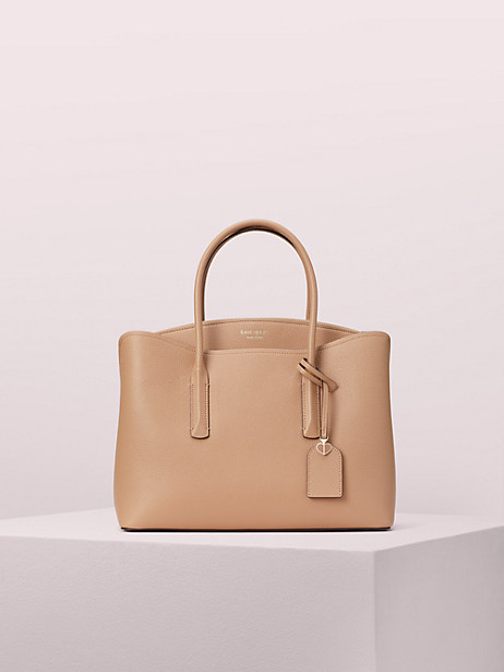 margaux large satchel, light fawn, large by kate spade new york