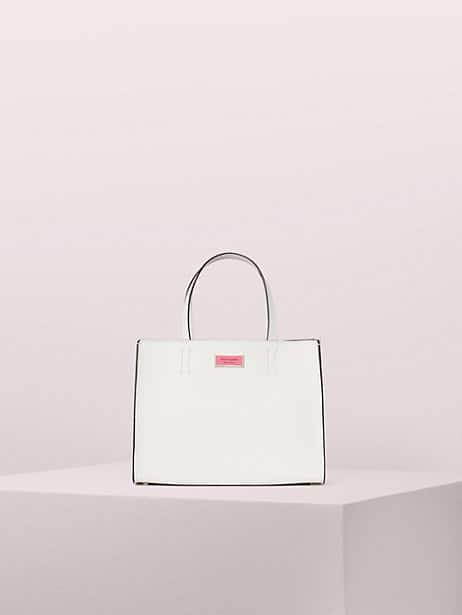 sam medium satchel, optic white, large by kate spade new york