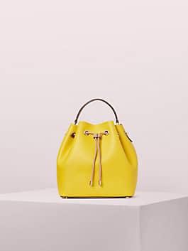 vivian medium bucket bag, vibrant canary, medium