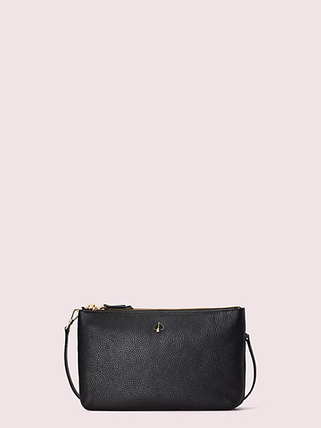 polly medium double gusset crossbody, black, large by kate spade new york