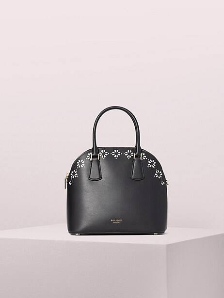 sylvia perforated large satchel, black, large by kate spade new york