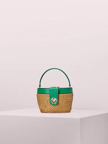 rose medium top handle basket bag, green bean, large by kate spade new york