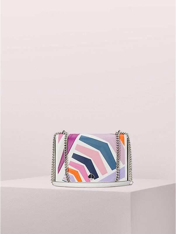 Mittelgroße Amelia Schultertragetasche mit verstellbarem Kettenriemen und Geobrella-Muster, , rr_large