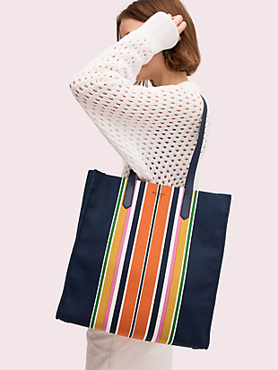 kitt stripe extra large north south tote by kate spade new york hover view