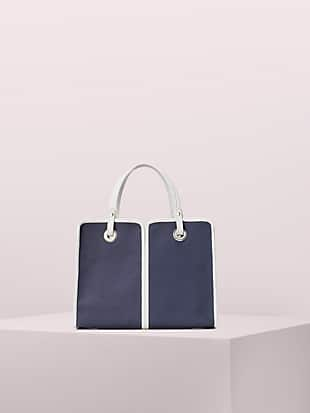 sam canvas plunge medium satchel by kate spade new york non-hover view