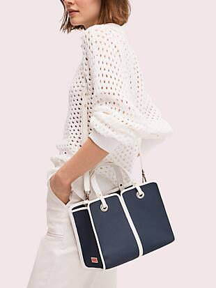 sam canvas plunge medium satchel by kate spade new york hover view