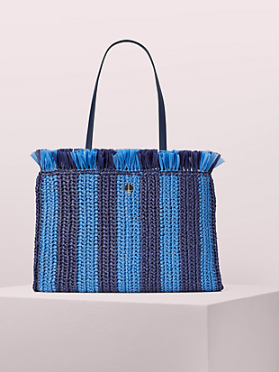 sam stripe straw large tote by kate spade new york non-hover view