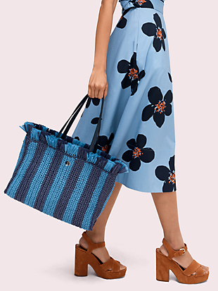 sam stripe straw large tote by kate spade new york hover view