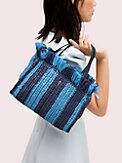sam stripe straw medium satchel , , s7productThumbnail