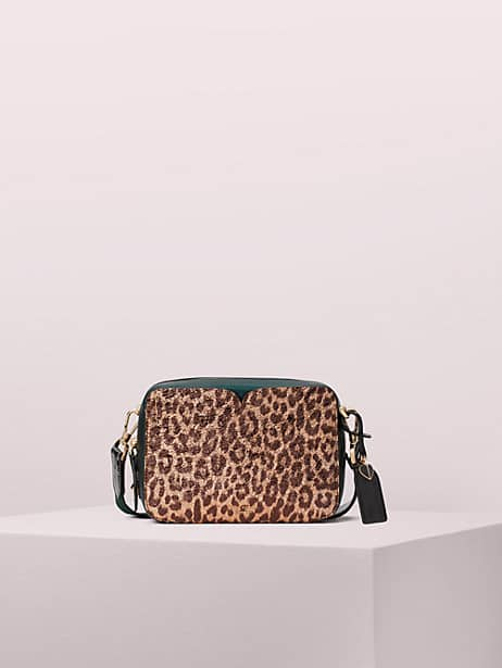 candid metallic leopard medium camera bag by kate spade new york