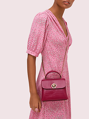 romy croc-embossed mini flap top handle bag by kate spade new york hover view